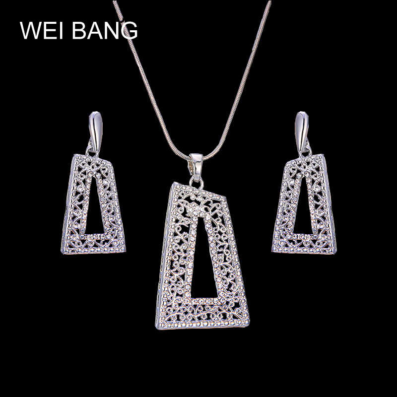 Exaggerated Winds Large Square Zircon Pendant Necklace Elegant Silver Color Jewelry Sets For Women Girls Christmas Gift