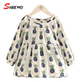 Girls Dress Spring New 2017 Fashion Floral Printing Dress For Baby Girl Long Sleeve O-neck Simple Kids Clothes Girls 4683W