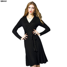Qbale Spring Women Sweater Dresses V-Neck Elegant Knitted Dresses Lacing Long Sleeve Robe Pull Femme Hiver Pleated Dresses