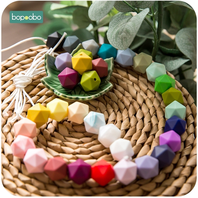 Bopoobo 10pcs 14mm Hexagon Silicone Beads Baby Teether Eco-friendly BPA Free Baby Teething Pacifier Chain Beads Baby Product 5