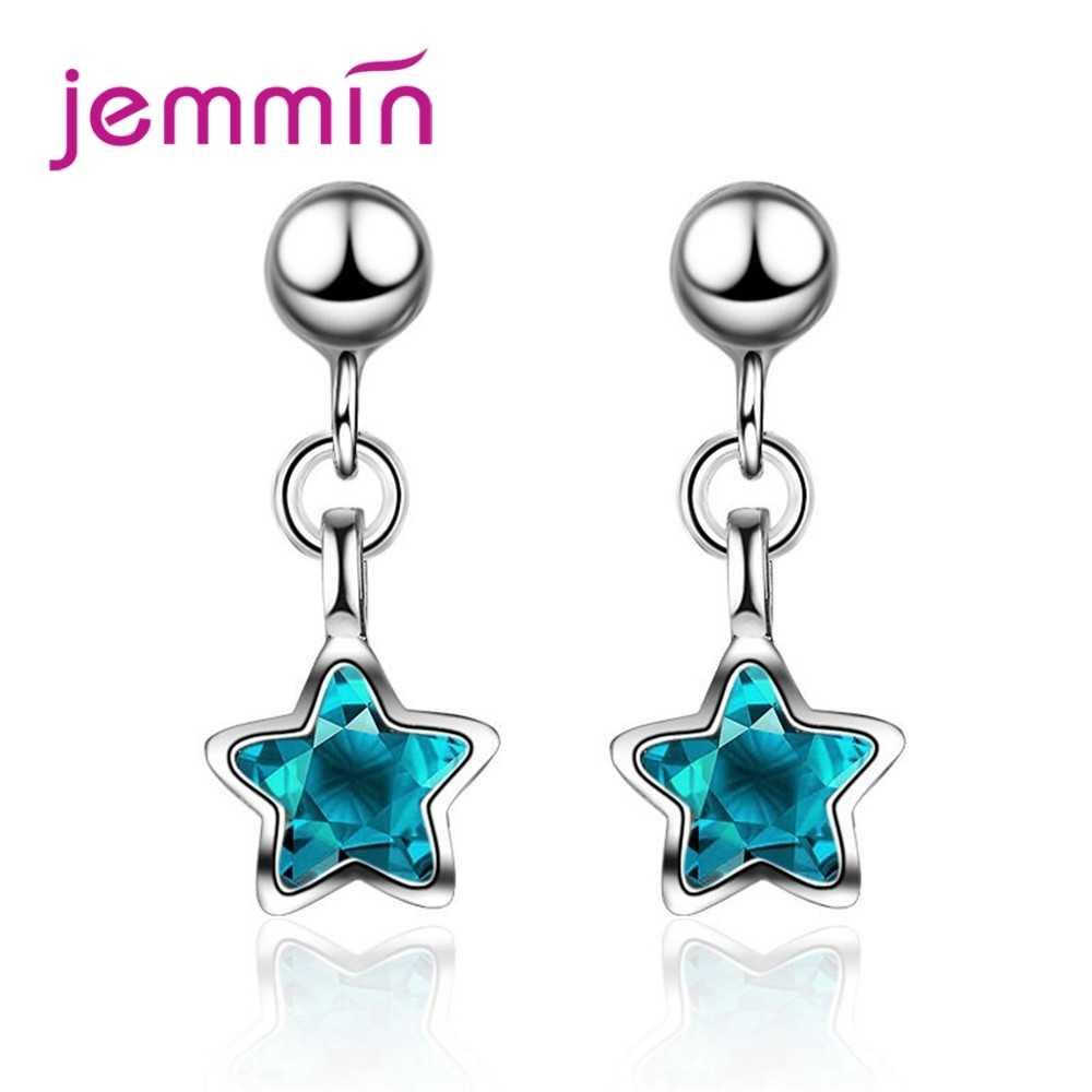 New Clear Blue Star จี้ต่างหูผู้หญิงที่ดีที่สุดของขวัญเครื่องประดับวัสดุ 100% 925 เงิน
