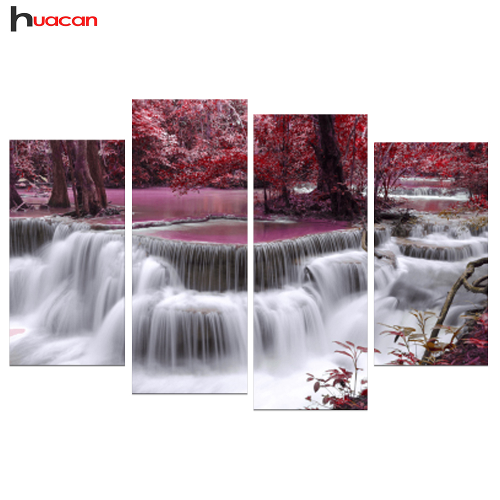 4pcs Landscape Diamond Painting Cross Stitch 5d Diamond Embroidery Home Decor Diy Waterfall Patterns Rhinestone Pasted Painting