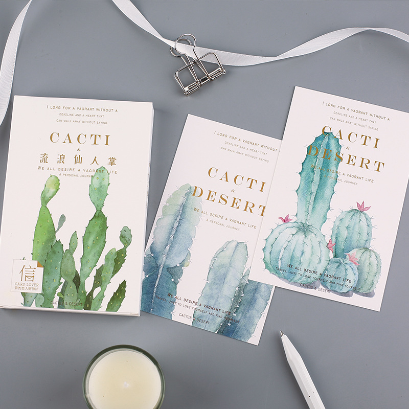 30 Pcs/Set Cartoon Cactus And Desert Postcard /Greeting Card/Message Card/Christmas And New Year Gift