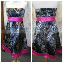 2e15ee8582a02 Strapless A-Line Short Camo Bridesmaid Dresses Short Mini Camouflage Cheap  2019 Real Tree Countryside