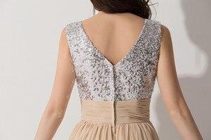 Image 5 - Vestido Madrinha Sexy V Neck szampana szyfonowe suknie dla druhen odblaskowa sukienka na ślub szata na imprezę Demoiselle Dhonneur