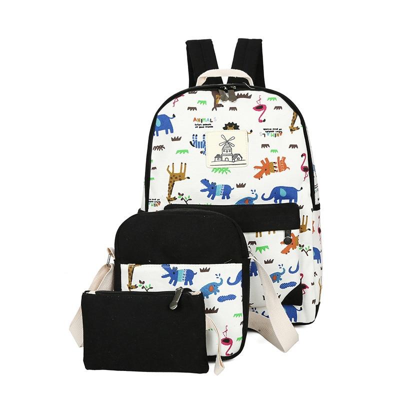 3pcs/set women backpacks High quality printing canvas children school bags for girls teens Travel backpack mochila esco