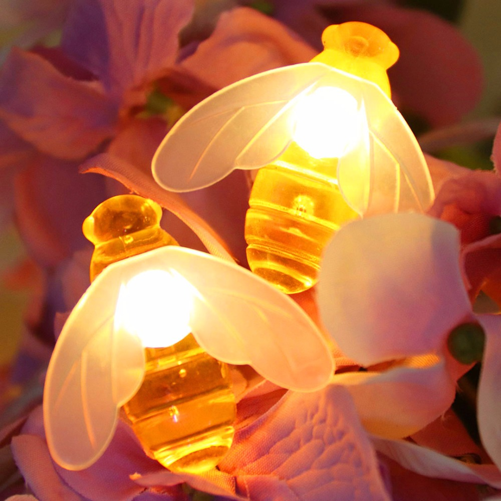 Bee LED Lys String Holiday Lights Garland Batteri USB Operated Fairy - Ferie belysning