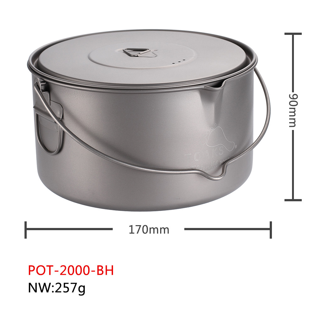 TOAKS Titanium Pot With Hang Foldable Handle For Outdoor Camping Cookware Picnic Hang Pot Ultralight 1100ml