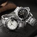 Skone reloj de cuarzo hombre completa banda de acero inoxidable resistente al agua 30 m reloj de hombres de negocios de lujo relojes de pulsera relogio masculino