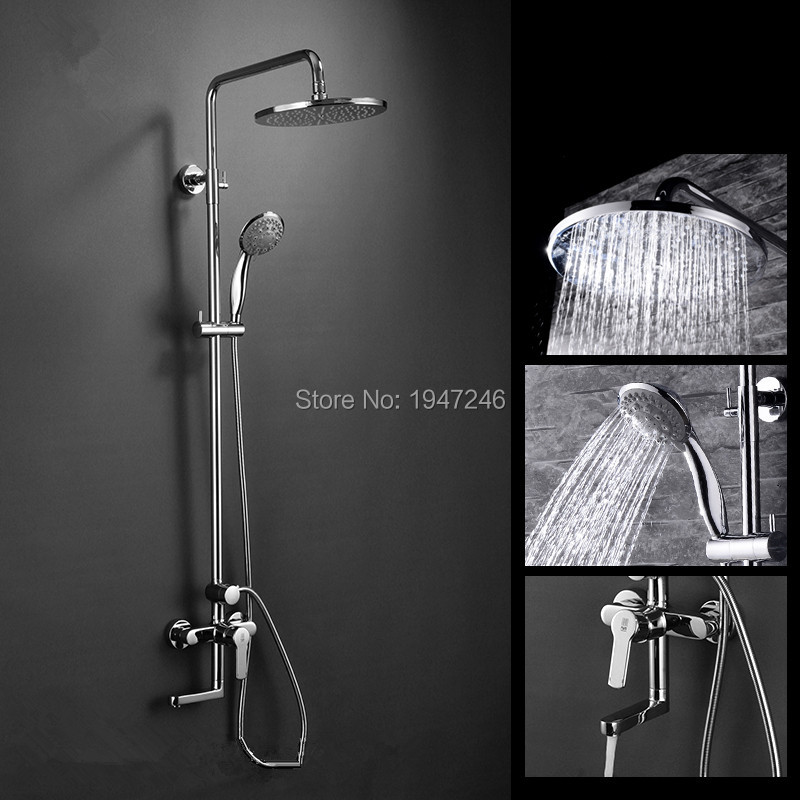 2017 Wholesale Shower Sets Full Copper Shower Faucet Hot And Cold Exposed Brand Top Brass Shower Spray Large Round Shower Head