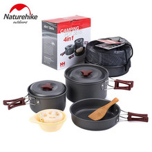 NatureHike Outdoor Tableware Camping Hiking Cookware Picnic Backpacking Cooking Bowl Pot Pan Cooker Set 4Pcs In One