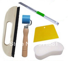a package of wallpaper tools: Horse Bristle brush+Plastic pressure roller+Trapezoid scraper+knife+Cleaning sponge FREE shipping
