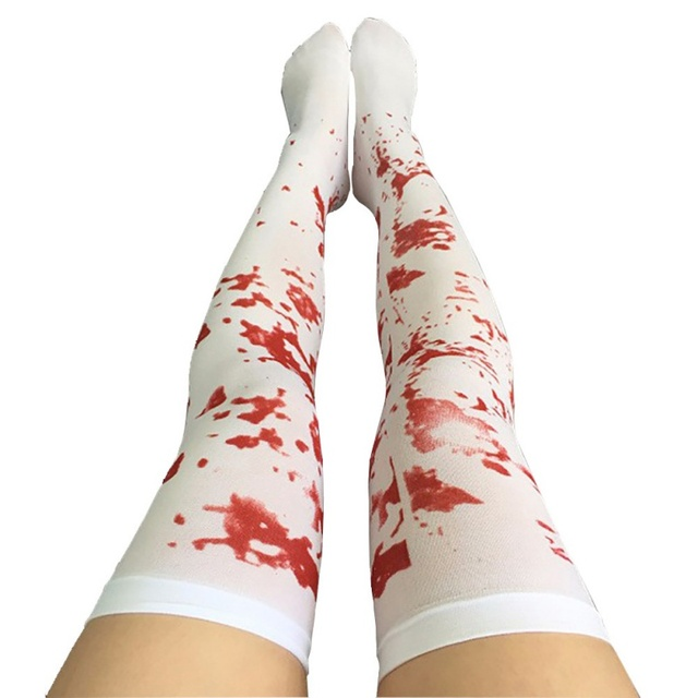 Halloween Decoration Cosplay Striped Over The Knee Stockings Blood Forked Bone Pattern Women Cosplay Terror Blood Socks