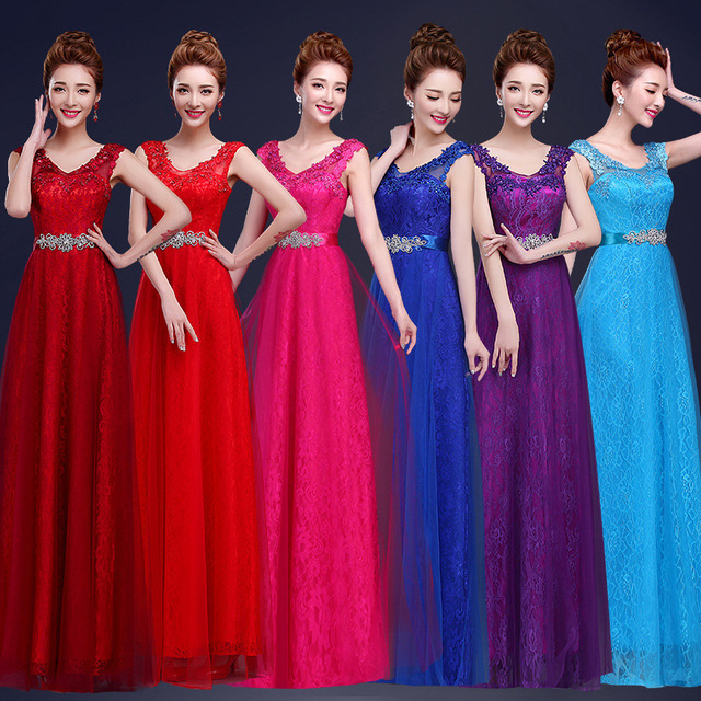 Red and Purple Wedding Party Dresses