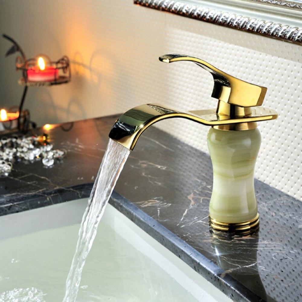 Homedec salle de bain pont mont cascade robinet doré vanité navire éviers mélangeur robinet d'eau froide et chaude