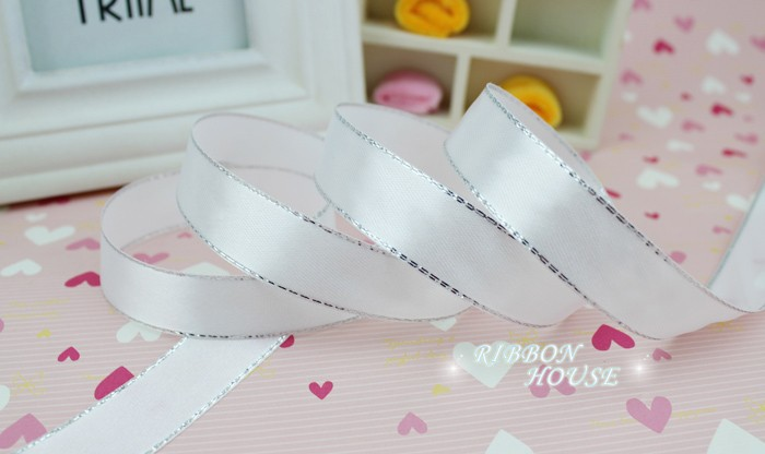 (25yards/roll) White Silver Edge Satin Ribbon Wholesale high quality gift packaging Christmas ribbons (6/10/20/25/40mm)
