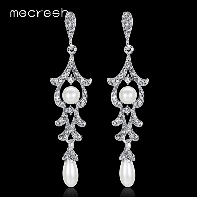 Mecresh Simulated Pearl Bridal Long Earrings for Women Clear Crystal  Geometric Party Wedding Drop Brincos Christmas Gift MEH905 cb3b7f196dd4