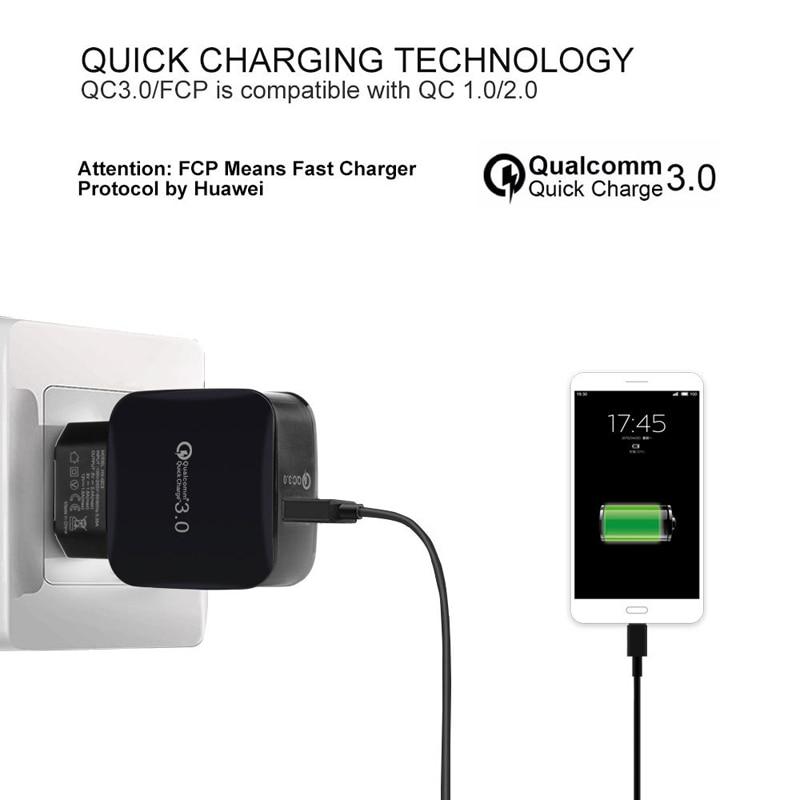 18W Quick Charge 3.0 EU / US 5V 3A Smart Travel USB Charger Adapter - Reservdelar och tillbehör för mobiltelefoner - Foto 4