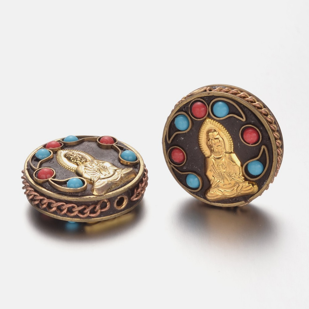 Alloy Beads, with Polymer Clay and Resin Beads, Flat Round with Bodhisattva, Golden, 28x11mm, Hole: 2mm