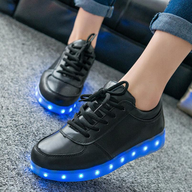 2017 Women led shoes Luminous For Light Up Shoe casual Adults 7 Colors Charging Glowing Black Plus Size 35-44 Zapatos Mujer stylish plunging neck open back one piece swimwear for women