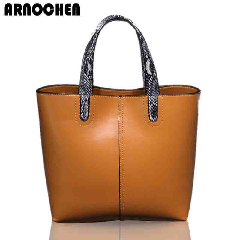 Fashion Genuine Leather Women Bag 2018 Real Leather Tote Bags Handbags Women Famous Brands Shoulder Bags