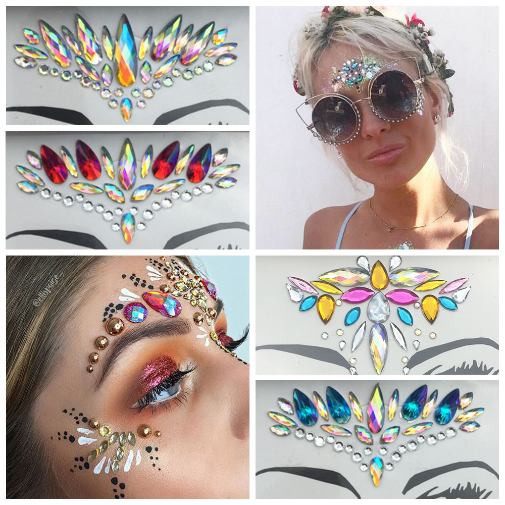 1Pc 3D Face Body Tattoo Acrylic Facial Decoration Crystal Jewels Diamond Glitter Resin Makeup Stick Makeup Rhinestone Stickers