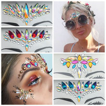 1 Pc 3D Gezicht Lichaam Tattoo Acryl Facial Decoratie Crystal Jewels Diamond Glitter Hars Make Stok Makeup Rhinestone Stickers(China)