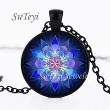 SUTEYI Handmade Henna Yaga Necklace Om Symbol Buddhism Mandala Glass Cabochon Pendant Islam Religion Art Image Necklace Jewelry