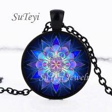 SUTEYI Handmade Henna Yaga naszyjnik Om Symbol buddyzm Mandala wisiorek ze szklanym kaboszonem Islam religia artystyczny obraz naszyjnik biżuteria