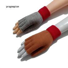 Pary bez palców magiczne rękawiczki unisex moda zimowe ciepłe rękawice z odsłoniętym palcem dzianiny ciepłe klapki pół palca unisex rękawiczki tanie tanio pragmapism Poliester Elastan Dla dorosłych Stałe Nadgarstek PG-j004 2 colors Fashion