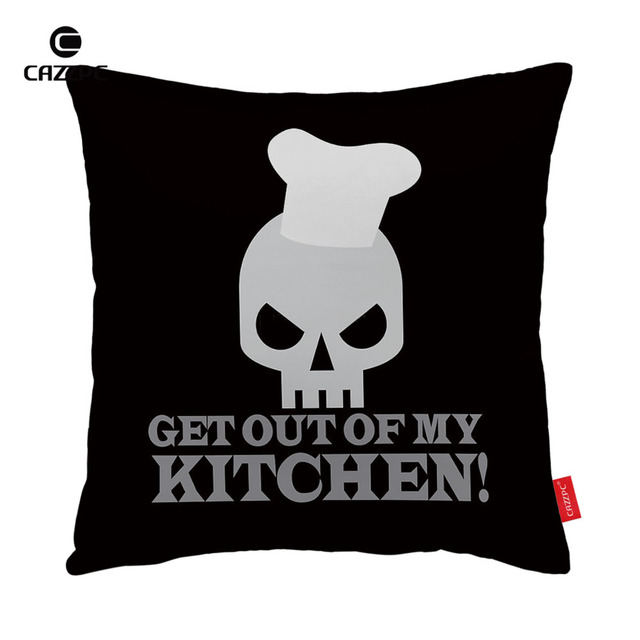 Kitchen Cushion Covers 36 Inch Table Black Skull Chef Get Out Og My Print Car Decorative Pillowcase Pillow Cases