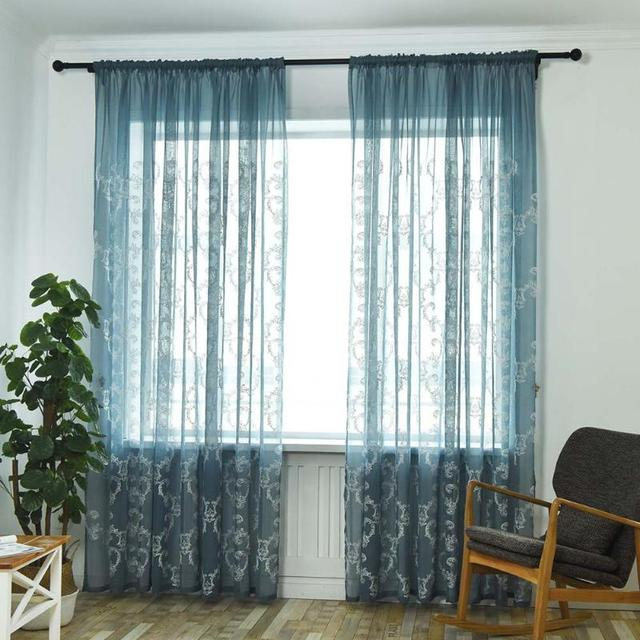 Solid Retro Pattern semi-blackout curtains Embroidery Translucent Gauze Window Curtain Living Room Bedroom Home Decorations