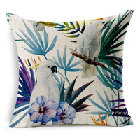 Hand Painted Tropical Flower Leaves Tree Linen Cushion Cover Flowers Floral Pillow Covers For Sofa Chair