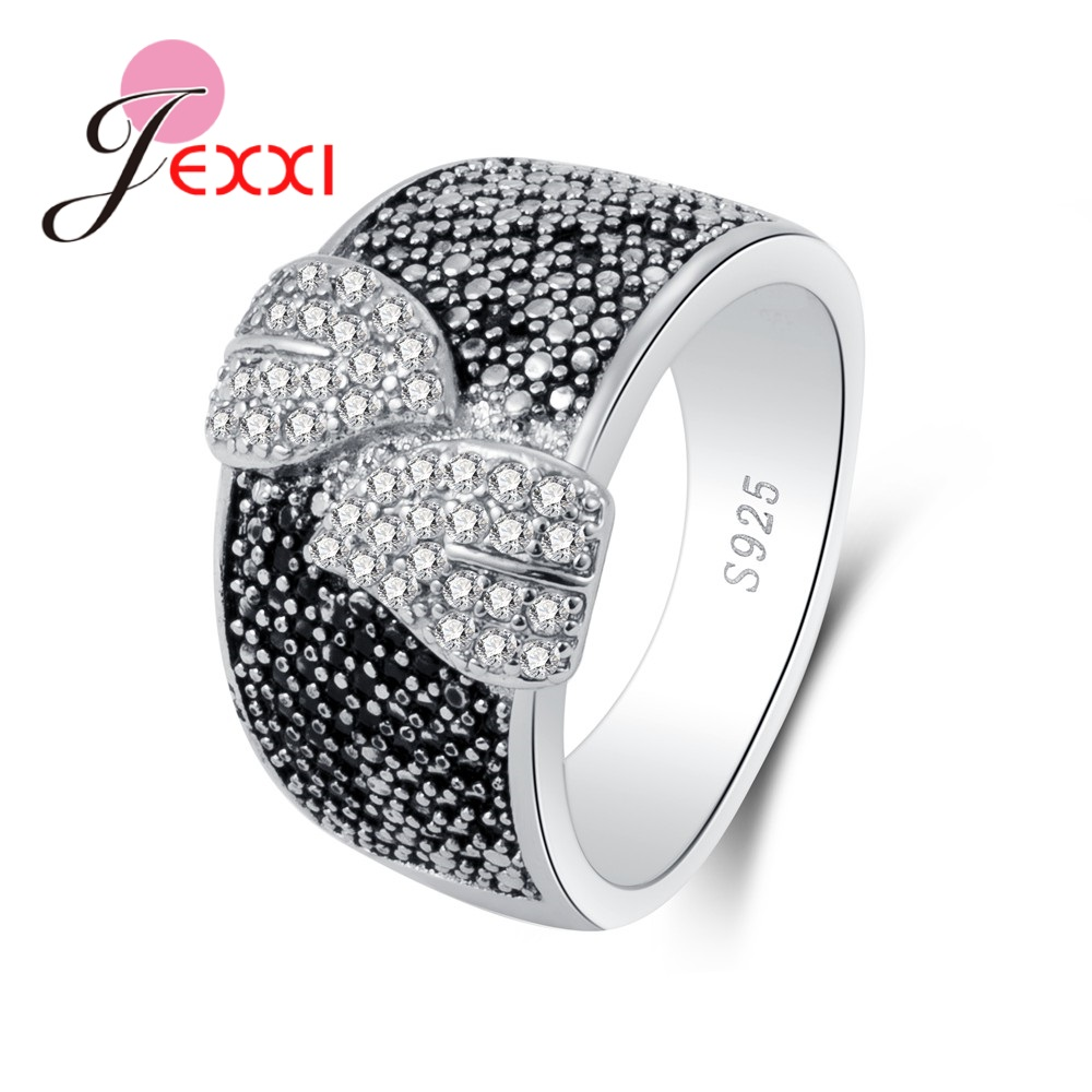 Special Beautiful Small Clear Leaves Cubic Zirconia Pure 925 Sterling Silver Rings Black Fashion Party Jewelry Accessory