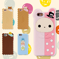 Para iphone 7 6 6 s plus 5S se 3d catoon oso pato de galletas de silicona caja del teléfono de goma para apple iphone 6 6 s 5 5S se 6 s plus cubierta