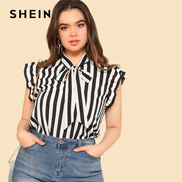 d27bcf991 SHEIN Black and White Striped Preppy Elegant Tie Neck Ruffle Women Tops and  Blouses Womens Plus