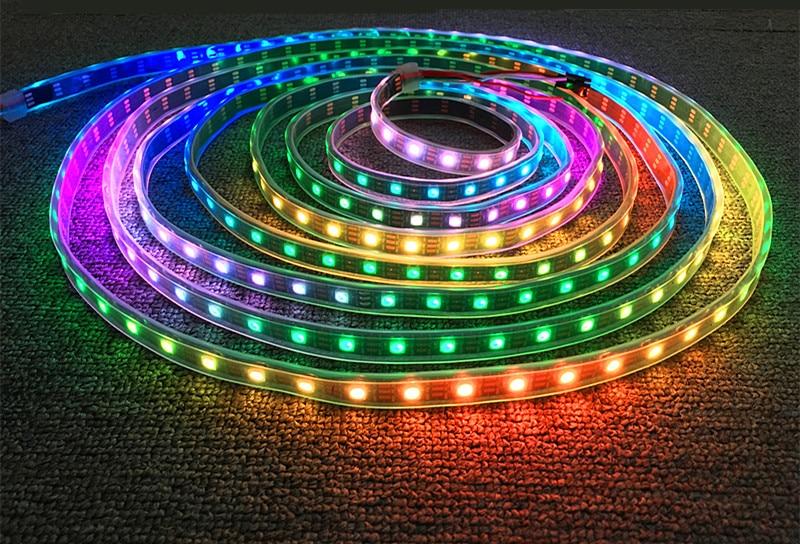 HTB1CdzCmL2H8KJjy0Fcq6yDlFXaT DC5V WS2812B 30/60/144 leds/m Smartled pixel RGB individually addressable led strip light Black/White PCB IC WS2812 pixel strips