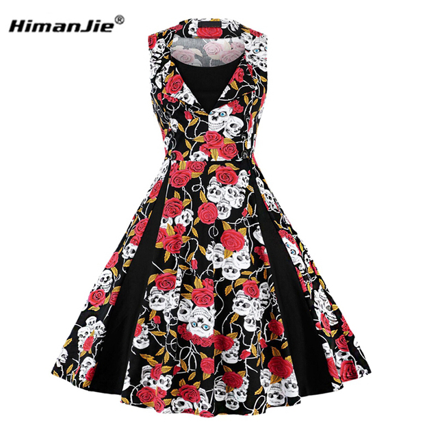 Himanjie Vintage Skull Print Dress Women Summer Halloween Party Dress  Gothic Casual Rockabilly Dress Plus Size 6d3f33be9042