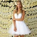 Inexpensive A-Line Sweetheart Off the Shoulder Princess Dresses White Short Organza Prom Dresses Hot Selling