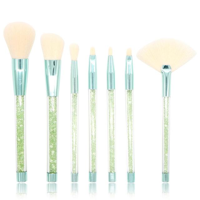 New 7pcs Diamond Handle Glitter Brush Bling Bling Foundation Blending Power Eyeshadow Brush Kit Cosmetic Beauty Make Up Tool Kit
