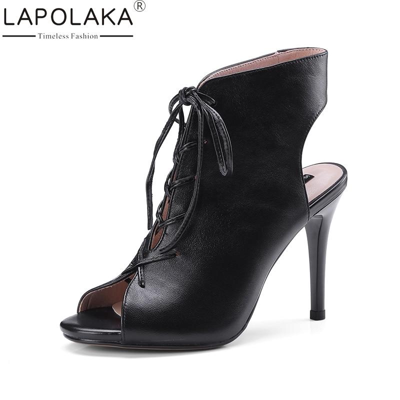 LAPOLAKA 2018 Genuine Leather Brand Peep Toe Shoes Women Summer Lace Up Woman Shoes Sandal Footwear Thin High Heels Sandals luxury brand shoes women peep toe