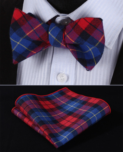 db79cf3c344c BMC402R Red Blue Plaid 100%Cotton Jacquard Men Butterfly Self Bow Tie  BowTie Pocket Square Handkerchief Hanky Suit Set