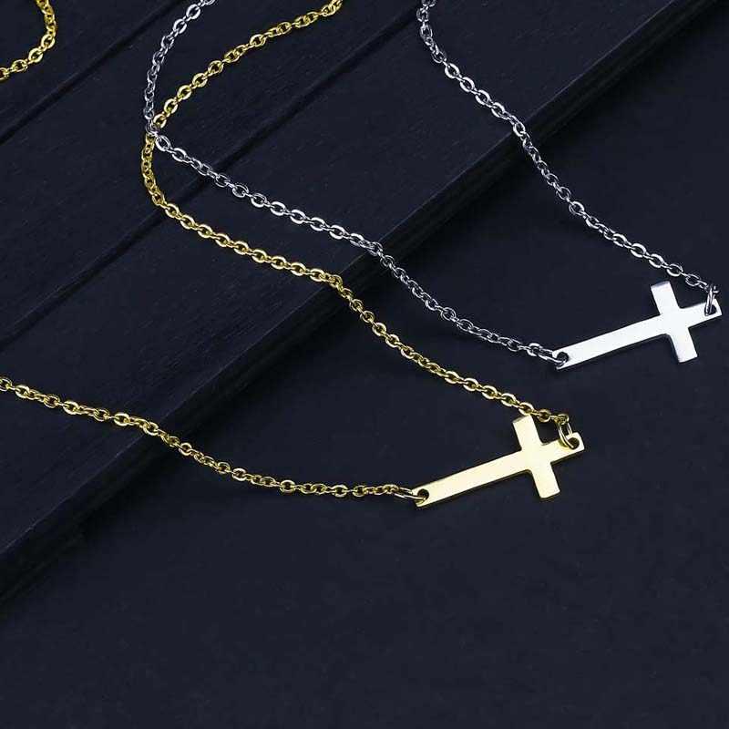 新ファッションクロスのペンダントネックレス男性ステンレス鋼宗教ジュエリーゴールドシルバーメッキチョーカーギフト信仰ネックレス