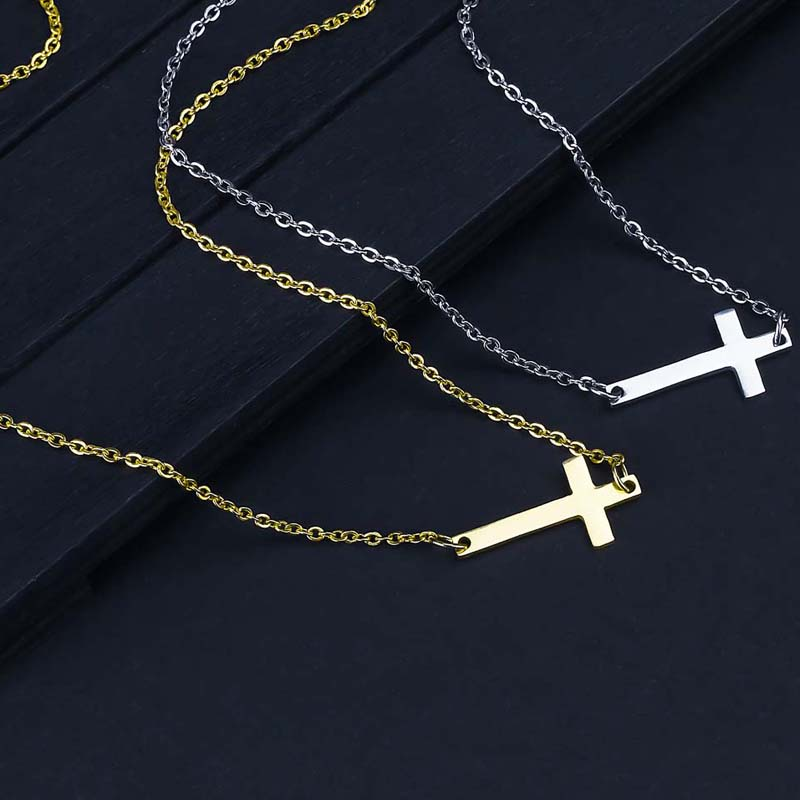 New Fashion Cross Pendant Necklace for Women Men Stainless Steel Religious Jewelry Gold Silver Plated Choker Gift Faith Necklace