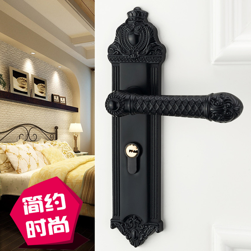 American interior door lock bedroom door handle lock room solid wood door lock home mute black door lock modern simple europe standard 304 stainless steel interior door lock small 50size bedroom big 50size anti shelf strength handle lock