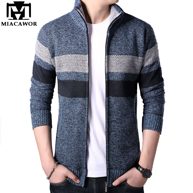 MIACAWOR Autumn Winter Fleece Warm Sweatercoat Wool Sweater Men Stand Collar Cardigan Men Turtleneck Sweater Coats Men Y142