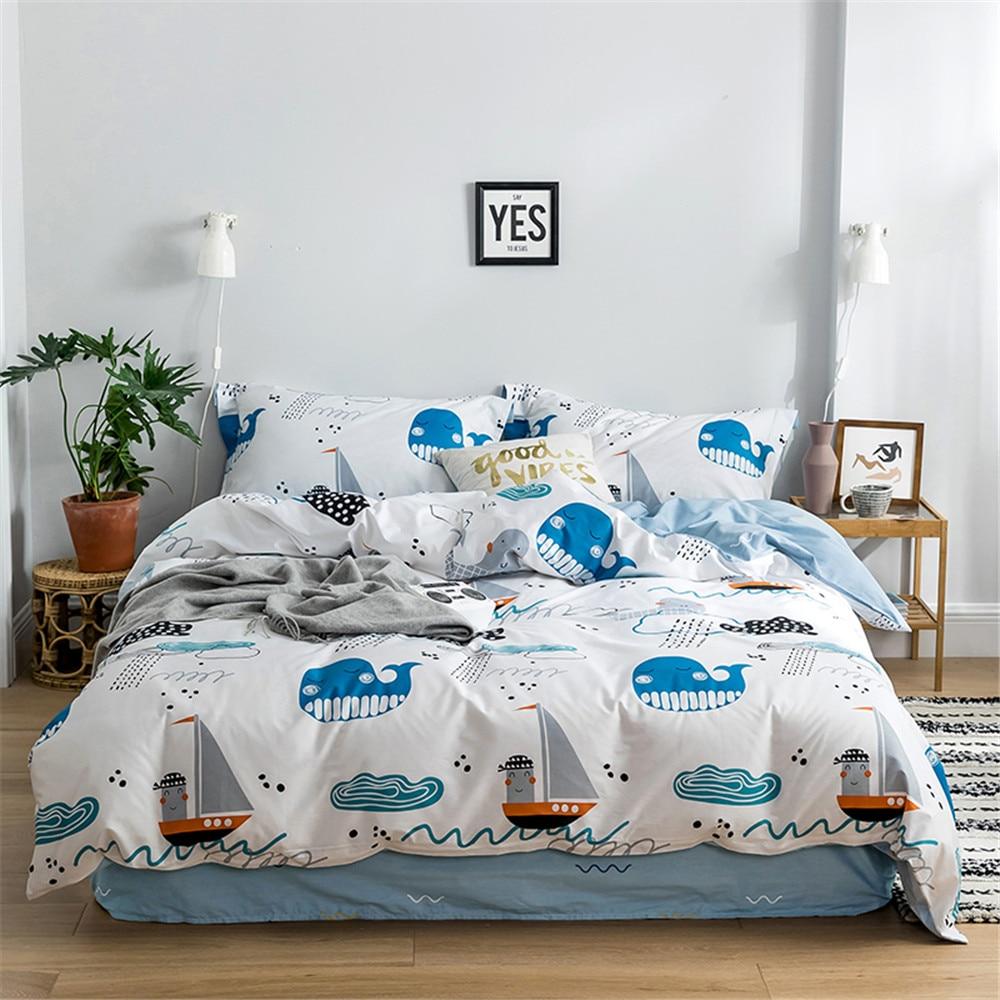 2019 baleines mer bateaux dessin animé housse de couette ensemble Twin Queen King drap plat ou drap housse doux coton draps taies d'oreiller