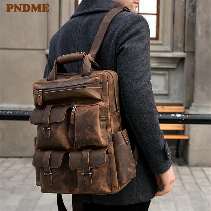 PNDME haute qualité vintage crazy horse sac à dos en peau de vache pour hommes grande capacité multi poche extérieur en cuir véritable sac de voyage