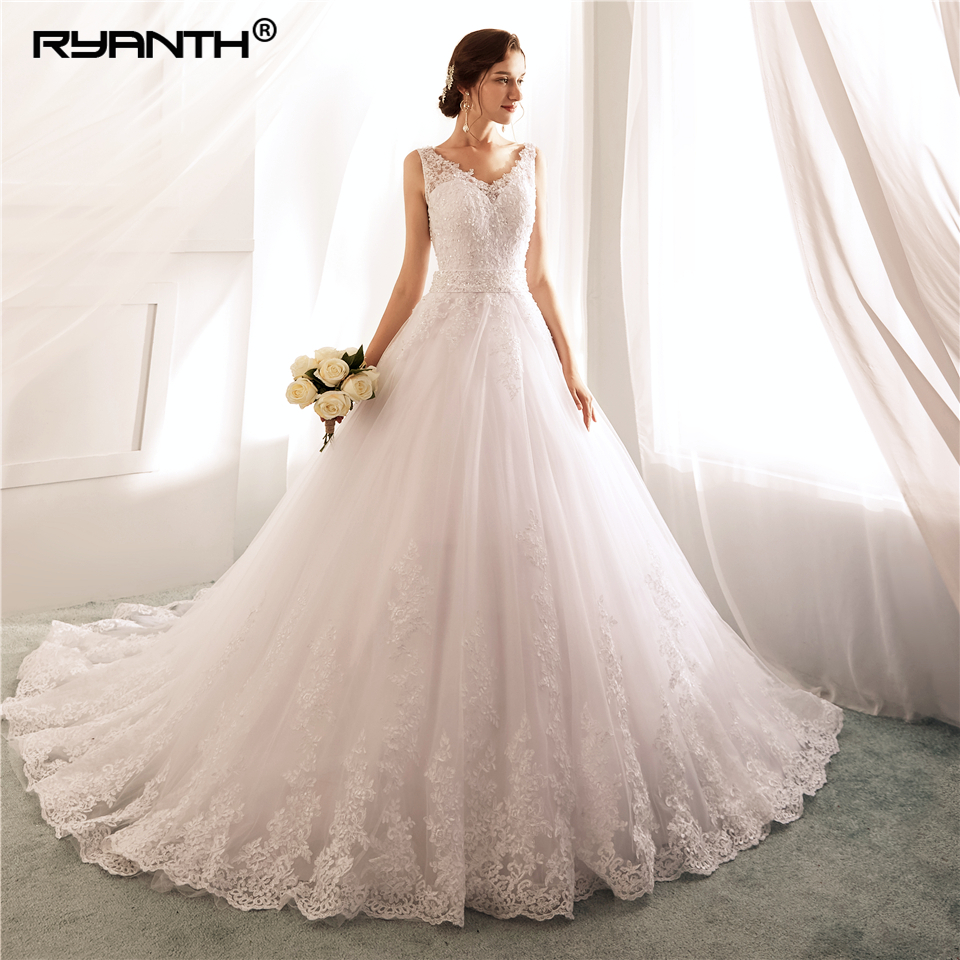 Robe De Mariage 2019 Vestidos de novia Sexy Spaghetti Strap V Neck Bead Sash Wedding Dress