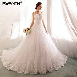Robe De Mariage 2019 Vestidos de novia Sexy Spaghetti Strap V Neck Bead Sash Wedding Dress Cheap A Line Wedding Gowns 1